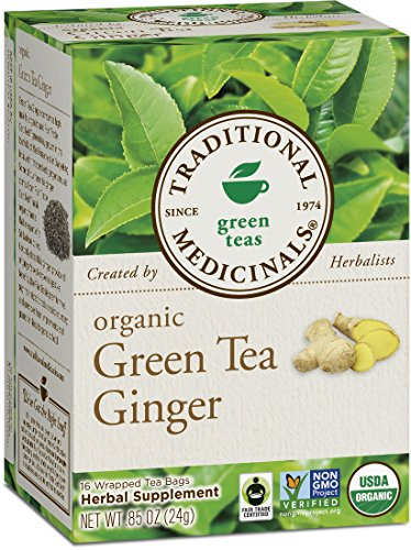 Traditional Medicinals Organic Green Tea with Ginger, 16 Tea Bags (Pack of 6)