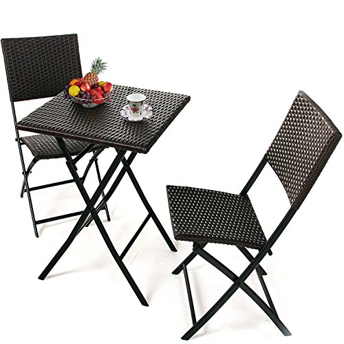 PATIOROMA 3 PCS Outdoor Wicker Rattan Steel Folding Table and Chairs Bistro Set, Rich Textured Espresso Brown (Folding Bistro Table And Chairs)
