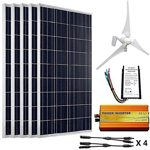 ECO-WORTHY 12V to 110V 900W Wind Solar Power: 5pcs 100W Poly Solar Panels + 1pc 12V/24V 400W Wind Turbine + 1KW 12V-110V Off Grid Inverter + Cable Connector for Home ()