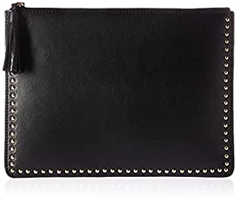 The Fix Cora Studded Leather Flat Clutch with Tasseled Zipper, Black