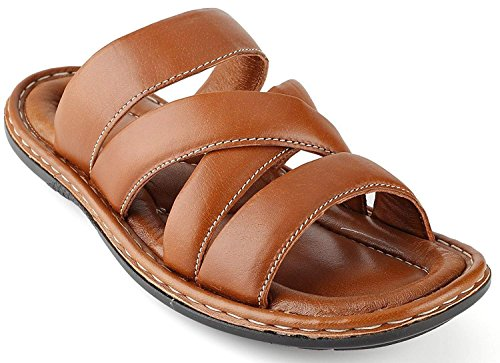- Men's Sandals Top Grain Leather Soft Cushion Footbed - Twisted Design Tan 12