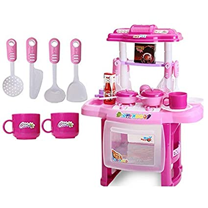 Amazon Com Kid Kitchen Children Cooking Pretend Role Toy Play Set