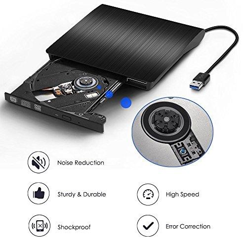 External CD DVD Drive , Portable DVD Rewriter Burner, USB 3.0 DVD Drive CD +/-RW DVD +/-RW Burner Super Drive for Apple Mac Macbook Pro Windows 10 Laptop PC (Black) by feifuns (Image #3)