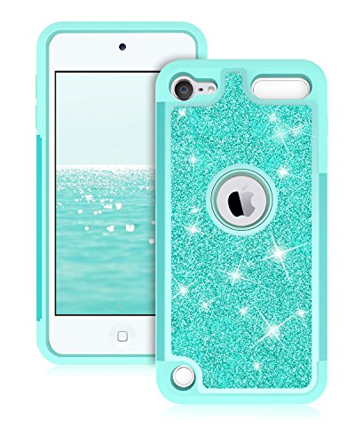Touch Green Ipod (Dailylux iPod Touch 6th Generation Case, iPod Touch 5 Cases,Glitter Bling Girls Women Dual Layer Heavy Duty Impact Protective Phone Case for Apple iPod Touch 6th/5th Generation- Green)