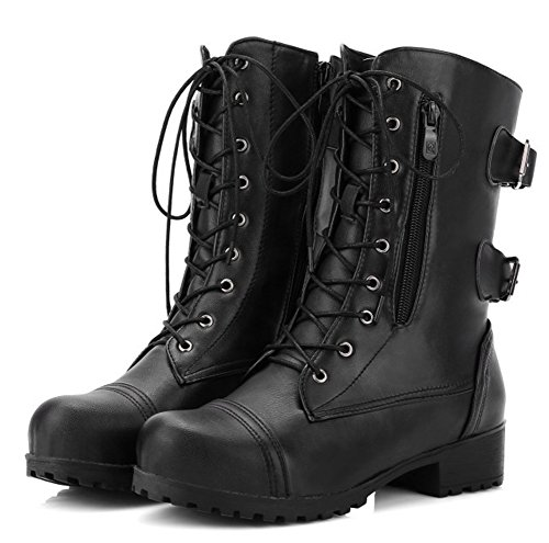 Daily Booties Block Black Heels Round Low Top Aisun Mid Up Lace Toe Women's pAnxUS