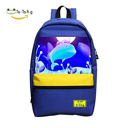 Blue Fish Moon School Bag Student Backpack for Children Blue