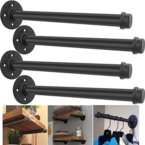 Industrial Pipe Shelf Brackets 12 inch - Set of 4, Rustic Floating Shelf Brackets with Iron Fittings, Flanges and Pipes for Vintage Furniture Decor, Wall Mounted DIY Bracket, Garment Rack Hardware