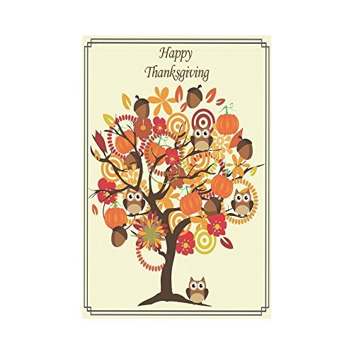 InterestPrint Thanksgiving Day with Tree Owl Pumpkin Double