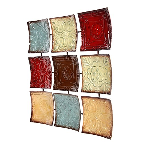 """Hosley's 24.75"""" Square Multi Colored Metal Wall Decor Plaque. Abstract. Ideal Gift for Home, Weddings, Party. Home Office O4"""