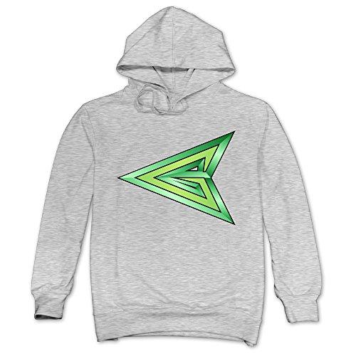 XJBD Men's Green Arrow Hoodies Ash Size L