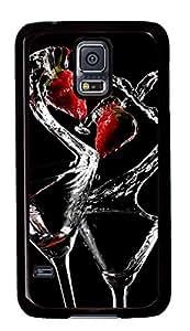 Diy Fashion Case for Samsung Galaxy S5,Black Plastic Case Shell for Samsung Galaxy S5 i9600 with Love Cocktail