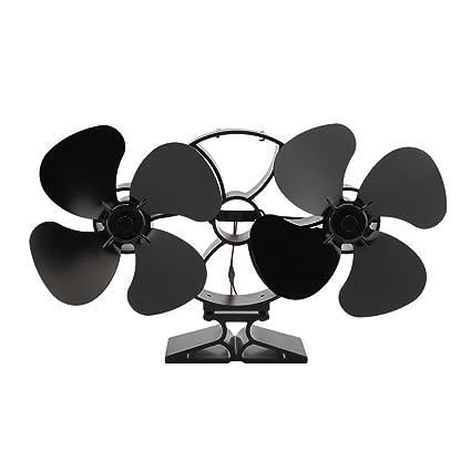Hifeel - Ventilador para estufa de leña de 8 aspas, alimentado por calor, ventilador