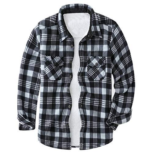 (MADHERO Men's Flannel Shirt Winter Sherpa Fleece Lined Plaid Shirt Jacket Black L/49'')