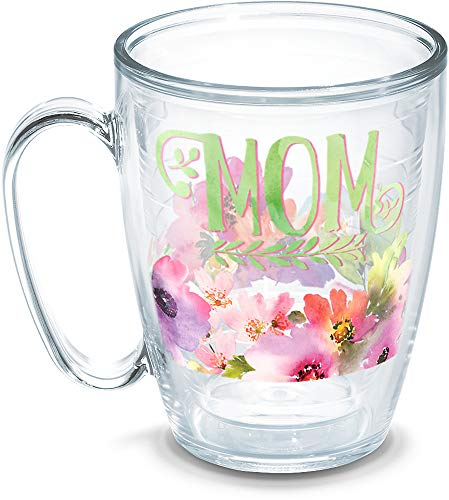 - Tervis 1258402 Mom - Watercolor Floral Insulated Tumbler With Wrap, 16 oz Mug - Tritan, Clear