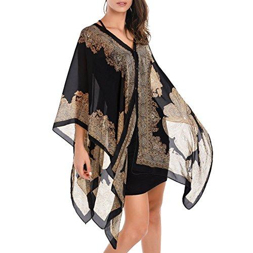 Mimgo Store Pretty Long Soft Women Fashion Chiffon Scarf Wrap Shawl Stole Scarves (Black)
