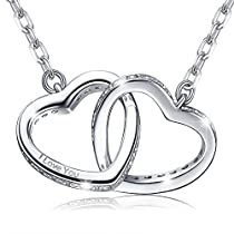 MARENJA-Valentine Gifts Womens Fashion Necklace-2 Crossed Heart Pendant Engraved I Love You with Chain-White Gold Plated Crystal Jewelry