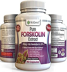 Best Forskolin 100% Pure Extract 250mg Per Capsule (2x 125mg Maximum Strength Belly Buster, 90 Capsules) Premium Research Verified Coleus Forskohlii Weight Loss Supplement (Fully Standardized to 20%)