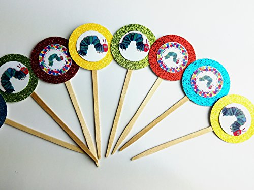 8 Hungry Caterpillar Cupcake Toppers Birthday Party Favor Goody Treat Cake Dessert Cake Picks Decorations