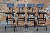 Set of Four Reclaimed Wood Stools | Salvaged Barn Wood | Steel Backrest | FREE SHIPPING For Sale