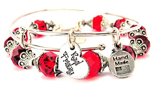 Red Friday Military Heart Collection Crystal Bangle Set in Crimson Red