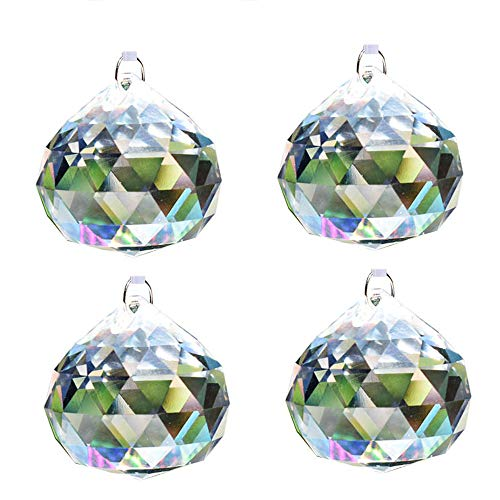 Aglife Sun Catcher Clear Crystal Ball Christmas Balls 50mm 2 inch,4 PCS+Hanging Kit by Aglife