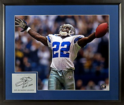 "Dallas Cowboys Emmitt Smith ""NFL Rushing Leader"" 11x14 Photograph (SGA Signature Engraved Plate Series) Framed"