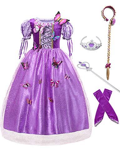 Little Girl's New Rapunzel Princess Costume Cosplay Dress Up for Halloween, Purple (10-12 -