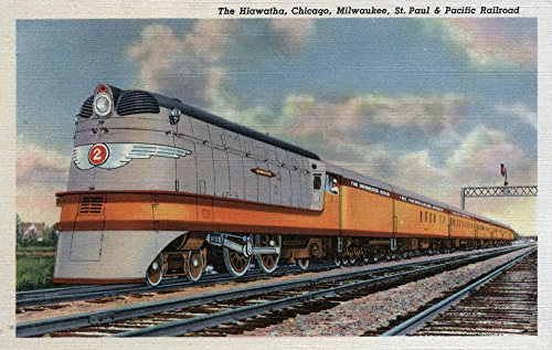 Chicago, Illinois - The Hiawatha Railroad Train - Vintage Halftone (24x36 SIGNED Print Master Giclee Print w/ Certificate of Authenticity - Wall Decor Travel Poster)