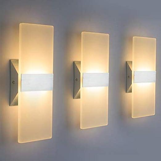 Lámpara de pared moderna Lámpara LED de acrílico Dormitorio Pasillo Escaleras Baño Iluminación interior @ Warm White-3: Amazon.es: Iluminación