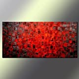 Hand Painted Abstract Oil Painting on Canvas Modern Wall Deco Artwork 24X48 Inch (Texture Red Abstract Canvas Wall Art Decor)