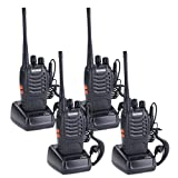 AMRIU 4PCS 400-470 MHz Walkie Talkie Two Way Radio Rechargeable Long Range Headset Headphone Built in LED Torch BF-888s(pack of 4)