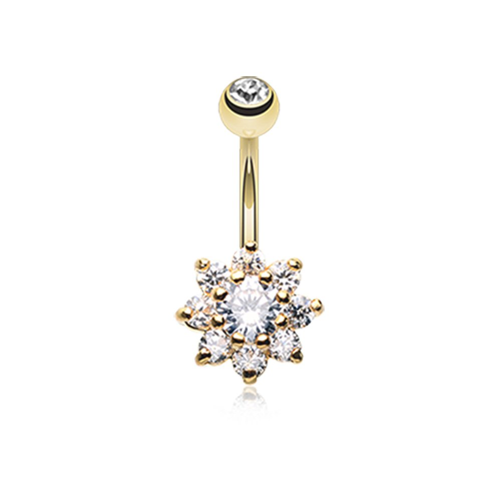 Inspiration Dezigns 14G Golden Spring Flower Belly Button Ring