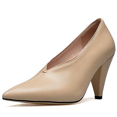 85cd11e0a30 Amazon.com | Nine Seven Women's Retro V Slit Cone Heels, Pointed Toe ...