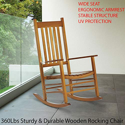 360Lbs Sturdy & Durable Wooden Rocking Chair Porch Rocker Balcony Deck Outdoor Garden Seat Living Room Perfect for Your Comfort and Relaxation – Poplar Wood Color