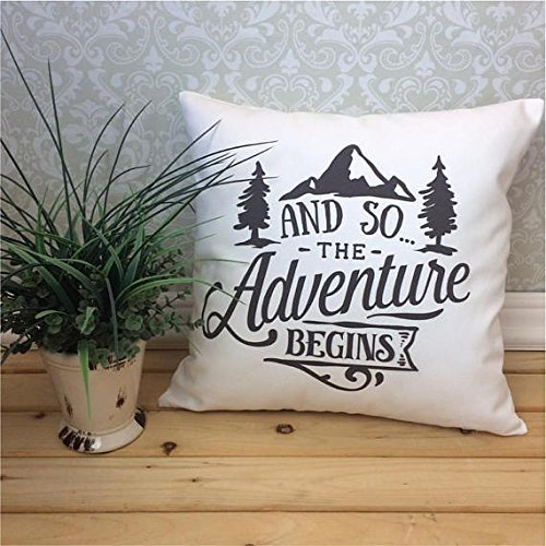 And so the Adventure Begins Pillow Cover, Adventure Home Decor, Mountain Pillow Cover, Gift for outdoor enthusiast Custom Color Pillowcase