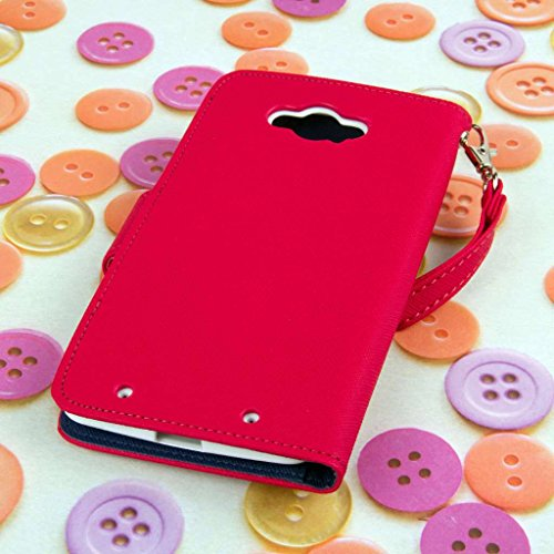 MPERO Motorola DROID Turbo Wallet Case, [Flex Flip] Cover with Card Slots and Wrist Strap (Hot Pink / Navy) Photo #6