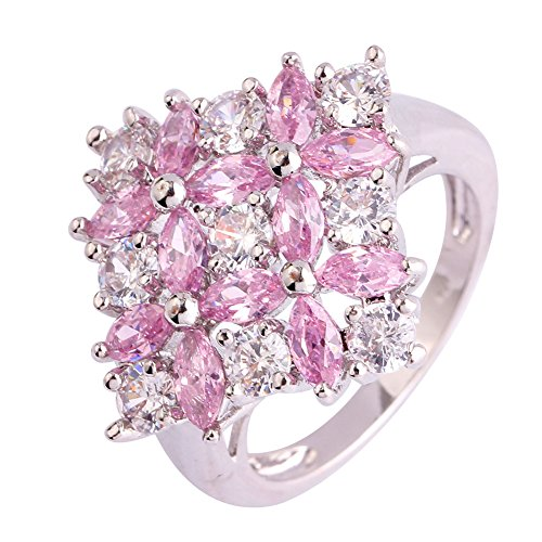 Narica Womens Charming Marquise Cut Pink & White Topaz Cluster Flower Cocktail Ring