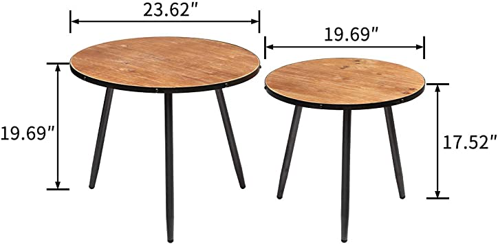 Modern Contemporary Side End Table Set of 2 23.62, Wooden Desktop with Metal Frame, D 15.75 H HollyHOME Accent Round Coffee Nesting Table 19.69 x H D 16.54 x