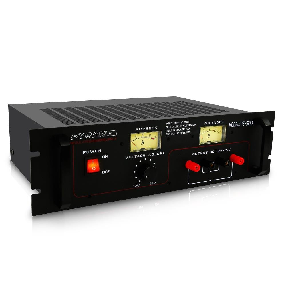 Pyramid Bench Power Supply | AC-to-DC Power Converter | 50 Amp Power Supply with Adjustable Voltage Control | Rack Mount (PS52KX)