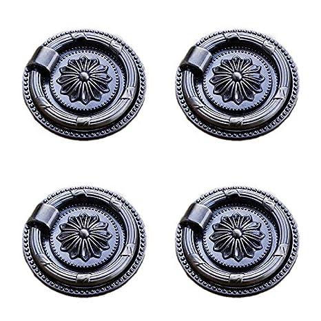 4X Linderung Mandala Handgriffe mit Kreis Ring ziehen f/ür Kabinett Schrank Kleiderschrank Schublade Zinklegierung Pull Griff f/ür M/öbelgriffe von Schlafzimmer K/üche Bad Lumanuby