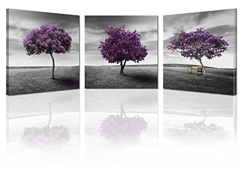 Ardemy Canvas Art Prints Tree of Life Purple and Grey Lawn Landscape 16