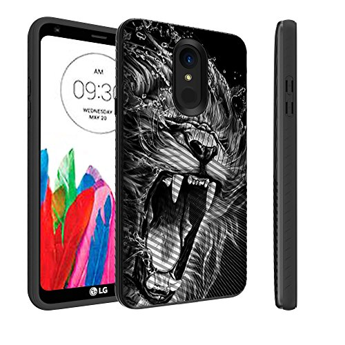 Untouchble Case for LG Stylo 4 Lion Case, Stylo 4 Case [Stripe Force] SStylus 4 Hard Case hockproof Armor Shell Rugged Linear Design Inner TPU Skin Design - Roaring Lion - Linear Hard Box