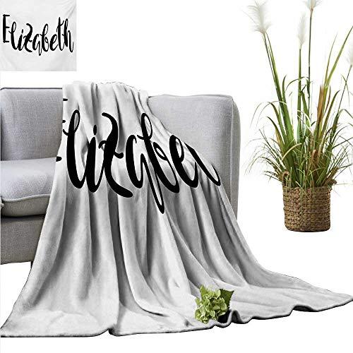 homehot Elizabeth Decorative Throw Blanket Monochrome Inscription Style Modern Calligraphy Design Popular Girl Name Ultra Soft and Warm Hypoallergenic 40