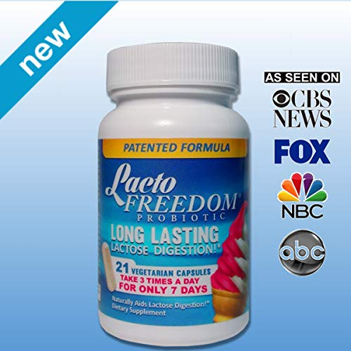 Lacto-Freedom Lactose Intolerance Pills- Patented Lactase Enzyme Supplement - Provides Long Term Relief from Cramps, Gas, Bloating & Diarrhea Guaranteed - 7 Days Dosing Allows Healthy Dairy Digest