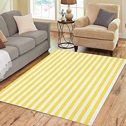 Pinbeam Area Rug Geometric Pattern Stripes Yellow and White for Abstract Home Decor Floor Rug 5' x 7' Carpet