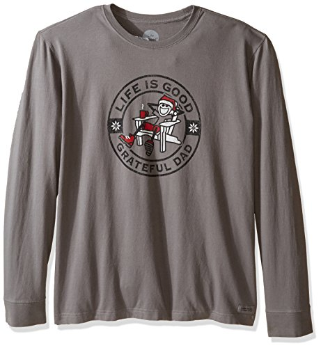 Life is good Men's Grateful Dad Holiday Crusher Long Sleeve Tee, Slate Gray, Large
