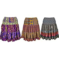Mogul Interior Wholesale Lot Of 3 Womens Tiered Skirt Vintage Recycled Sari Full Flare Glowing Persona Knee Length Skirts