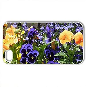Beautiful violets - Case Cover for iPhone 4 and 4s (Flowers Series, Watercolor style, White)