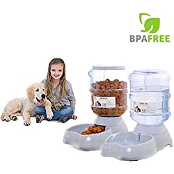 Automatic Pet Feeder,Pet Water Feeder Fountain,Dog Cat Water Food Dispenser Bowl,1 Gal(3.8L) Pet Waterer Feeder Replenish Set Combo By Meleg Otthon