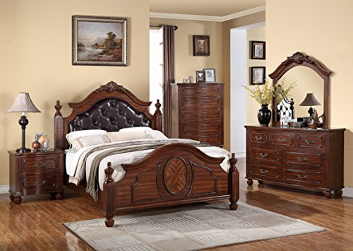 Formal Look Contemporary Cherry Wood Finish 4pc Set Four Post California king Size Bed Dresser Mirror Nightstand Traditonal Bedroom Furniture ()